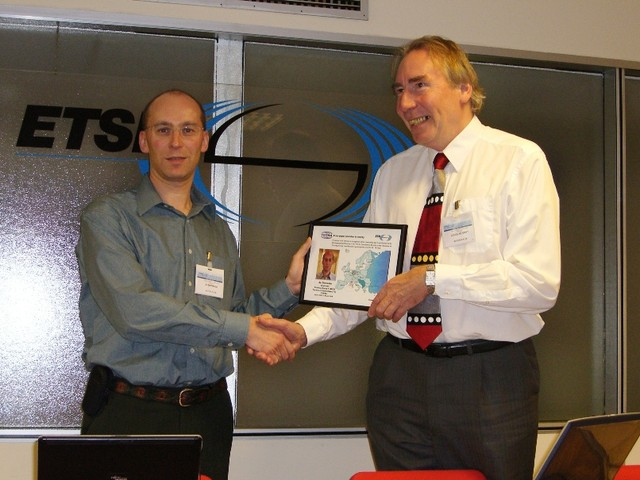 CIMG6184 Jo-outgoingWG1chairman-presentation-from-Doug-at-ETSI
